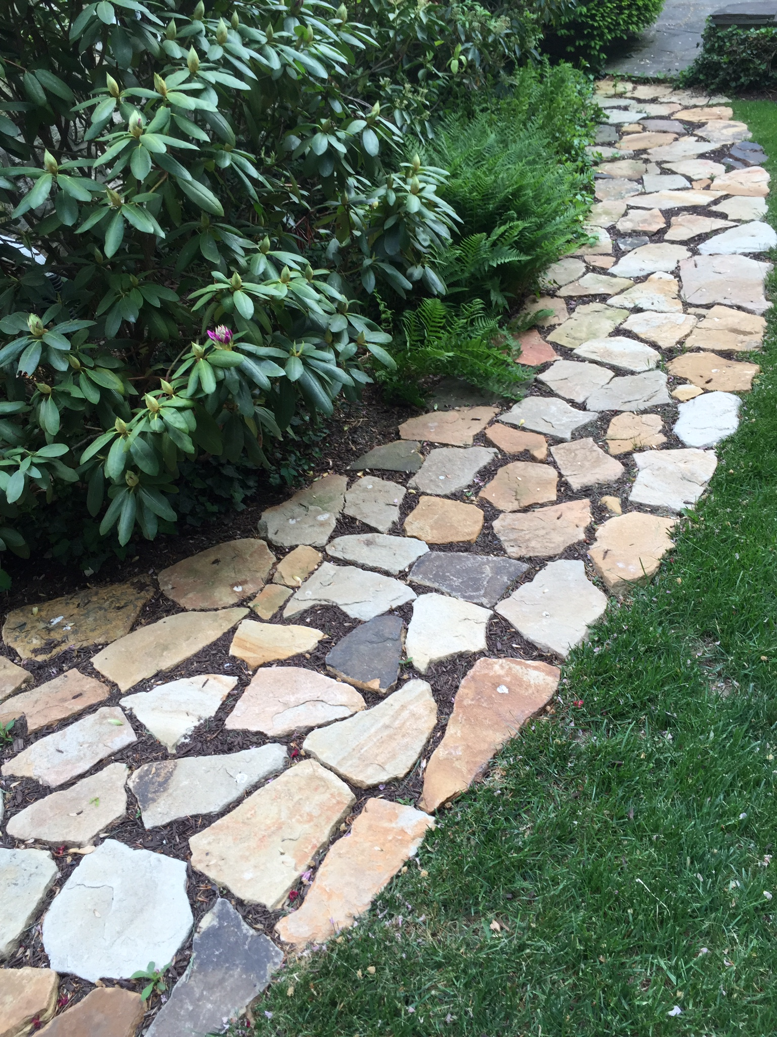 Placing individual stones in garden for a path