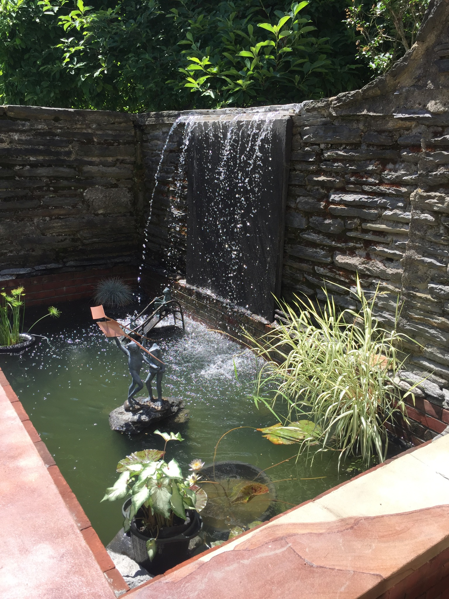 Waterfall in private court yard off of kitchen